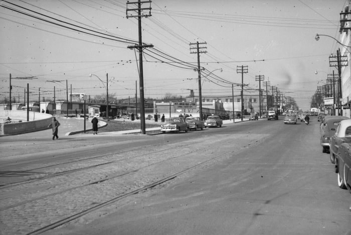 1954- Yonge St. Subway, Eglinton Station, looking n. on Yonge St. to Eglinton Ave.